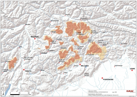 Figure 1. The UNESCO World Heritage Dolomites Region