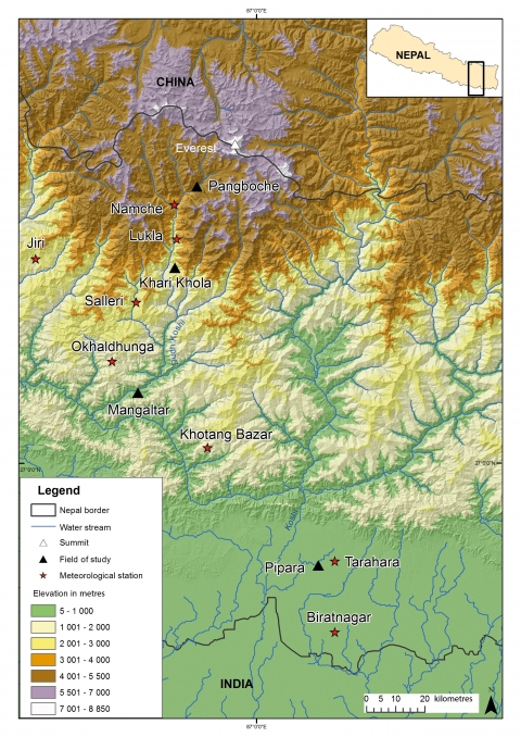 Figure 1. Location of study sites and meteorological stations selected in the Koshi basin, Nepal