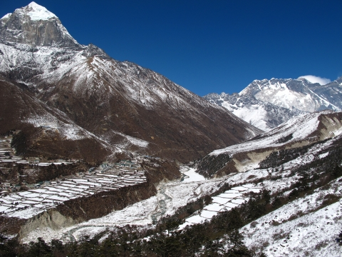 Figure 3. High mountains. Pangboche hillside, February 2011