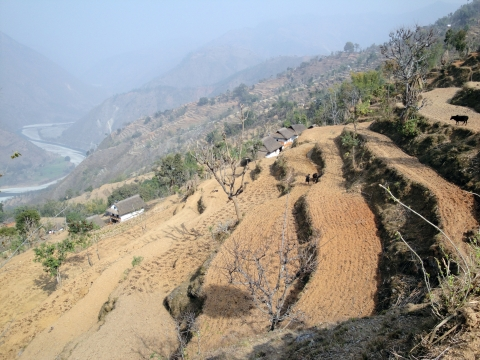Figure 7. Low mountains. Mangaltar on the left bank of the Dudh Koshi, February 2012
