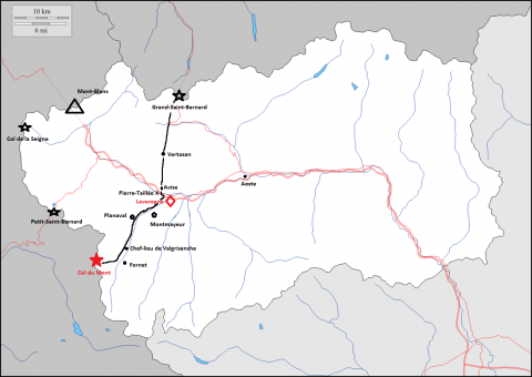 Map 1. The route between the Col du Mont and the Great–St-Bernard Pass