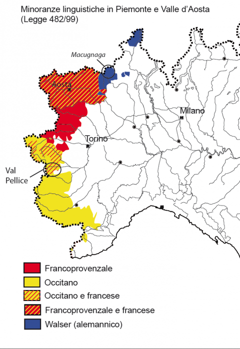 Carta 1. Minoranze linguistiche in piemonte e valle d'aosta