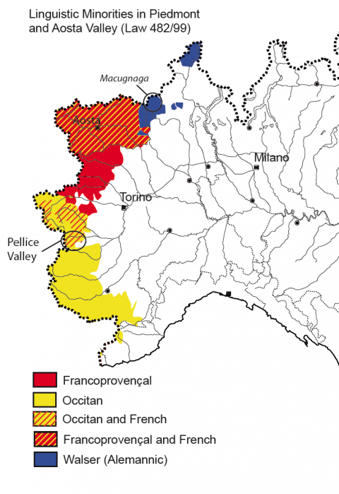 Map 1. Linguistic minorities in piedmont and aosta valley