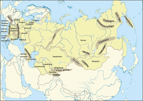 Figure 1: Location of mountain ranges in northern Eurasia