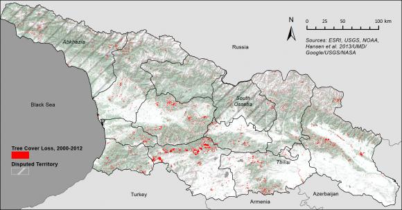 Map Of Republic Of Georgia.Gatekhili Mountains Gatekhili State Fractured Alpine Forest