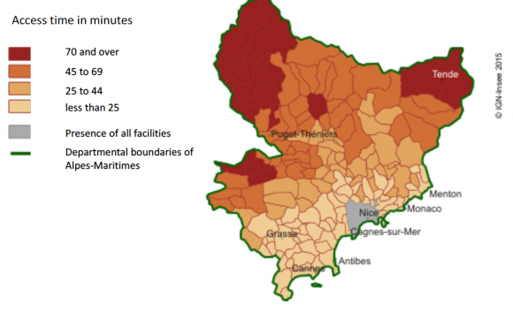 ff1389b0280 Map 1   Average time taken to access extended-range facilities in the Alpes-