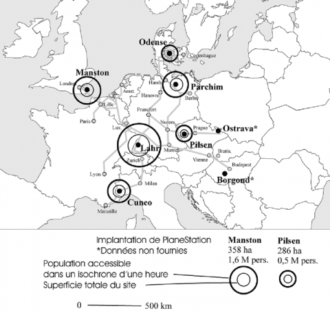 Figure 1 : Localisation des sites PlaneStation à travers l'Europe