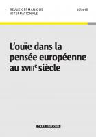 L'ouïe dans la pensée européenne au XVIIIe siècle