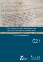 couverture. Corpus textuel, individus et groupes sociaux, Rives Méditerranéennes, 62, 2021