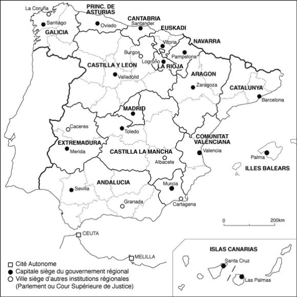 Carte Espagne Noir Et Blanc.Territoire Question Regionale Et Dimension Europeenne Dans