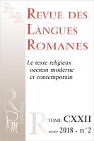 Couverture RLR, Le texte religieux occitan moderne et contemporain, t. CXXII, n°2