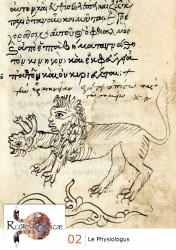 « Le lion » (περὶ τοῦ λέοντος), Roma, Biblioteca Casanatense, G. V. 11 (Bancalari 1700), XVe siècle, f. 3r.