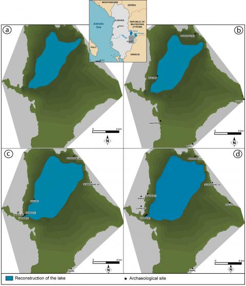 Figure 1. Four palaeogeographical reconstructions of palaeo-lake Maliq