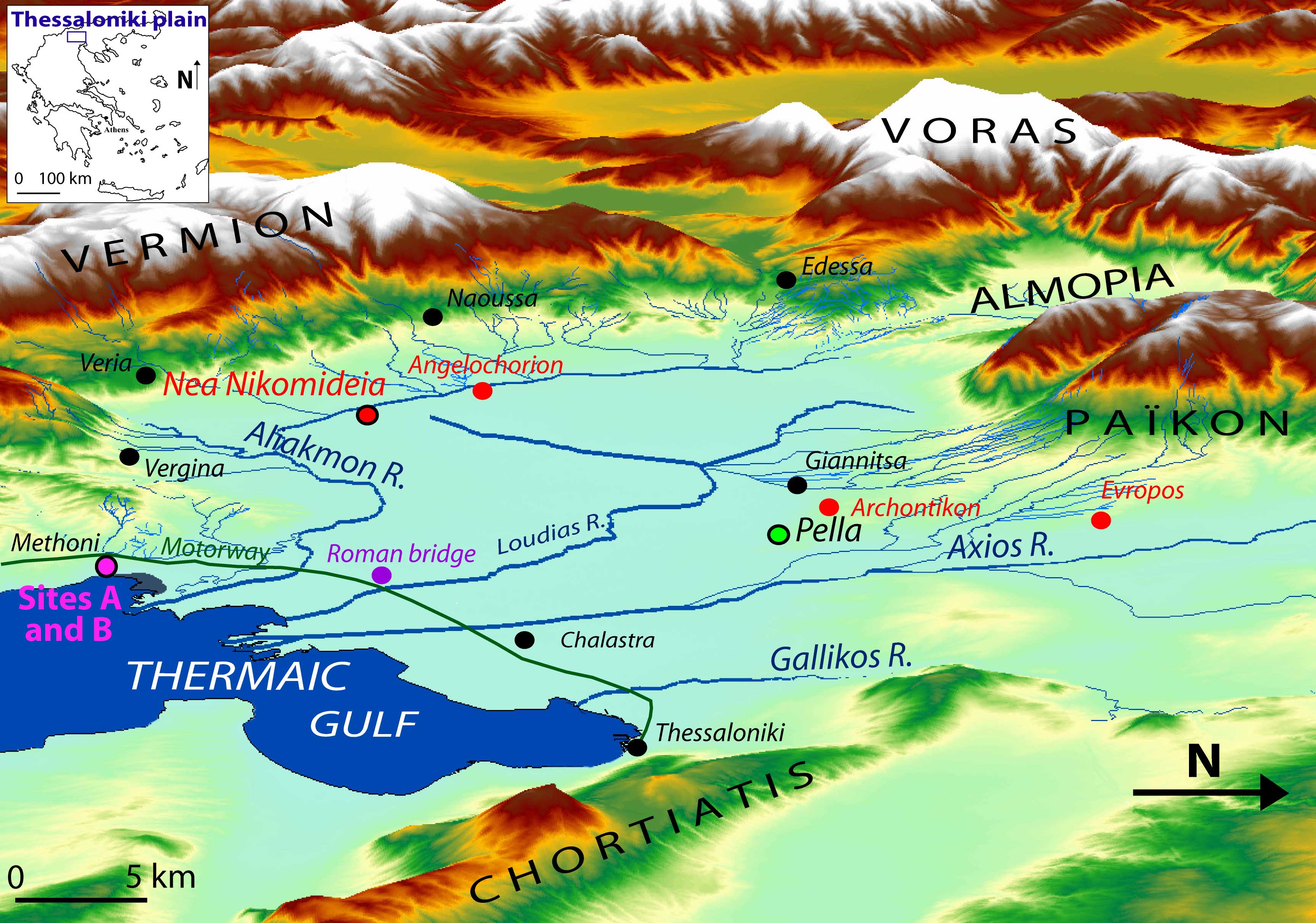 Topographic Map Of Ancient Greece.Geoarchaeology Where Human Social And Earth Sciences Meet With