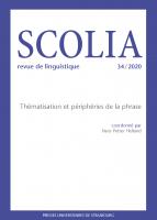Couverture Scolia, 34 | 2020
