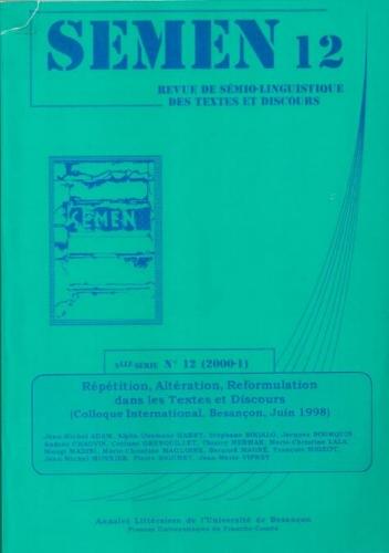 12 2000 r p tition alt ration reformulation dans les. Black Bedroom Furniture Sets. Home Design Ideas