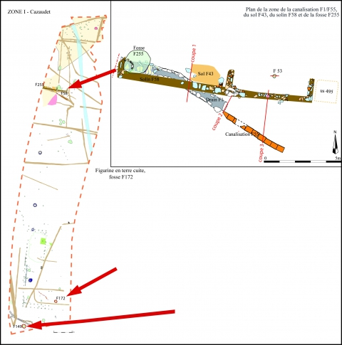 Fig. 5 : Plan de la zone du solin F58, Zone 1