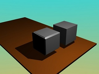 Two models of a cube: the one to the right has unrealistic sharp edges and no reflection; bevelling and reflection have been added to the one on the left.