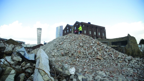 Hilary Powell on demolition site