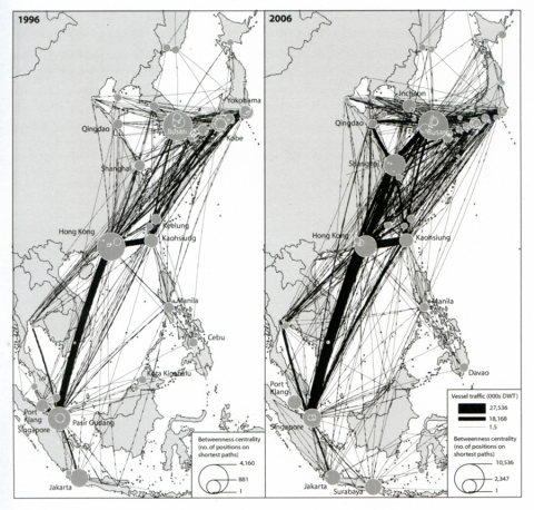 Figure 2 : Graph of direct connections among East Asian ports, 1996-2006