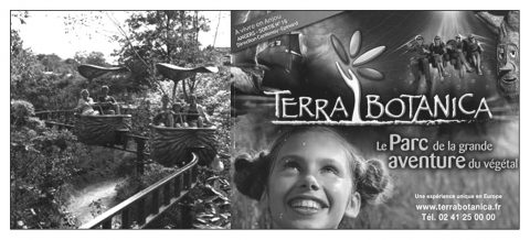 Figure 3 : Une attraction et un prospectus du parc Terra Botanica