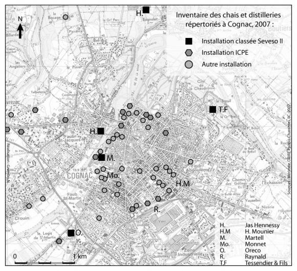 carte 1 chais et distilleries de la ville de cognac - Mesure D Angle Synonyme