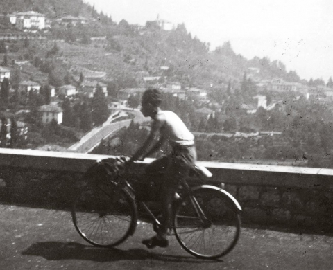 Primo Levi cycling along the Italian lakes in 1941.