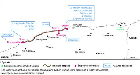 Illustration 1 : À partir d'Alger, l'itinéraire proposé conduit vers l'ouest : Tipaza, Hadjout et Oran