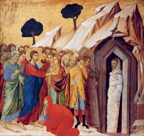 → Fig. 4. La résurrection de Lazare, Duccio di Buoninsegna, Kimbell Art Museum, Forth Worth, 1308-1311.