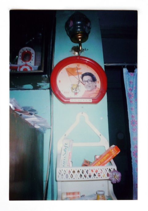 Fig. 2a. Images of Bal Thackeray hanging from the walls in a Mumbai slum.
