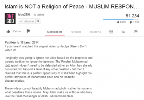 "Figure 3 : capture d'écran du descriptif de la vidéo ""Islam is Not a Religion of Peace - Muslim Response"" de Lebo 2196."