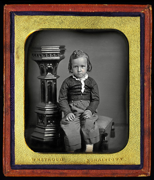 This little girl probably had a hidden mother in the gallery in this 6th plate daguerreotype with a whole case.