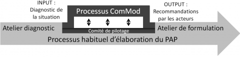 Figure 3. Articulation entre le processus habituel d'élaboration des PAP et le processus ComMod-courbine / Articulation between the usual elaboration process of fishery development plan and the companion modeling process.