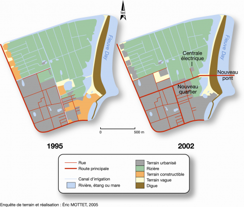 Figure 9. Progression de l'urbanisation dans le quartier de Dong Thanh entre 1995 et 2002.